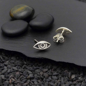 Sterling Silver Dimensional Eye Post Earrings 5x9mm