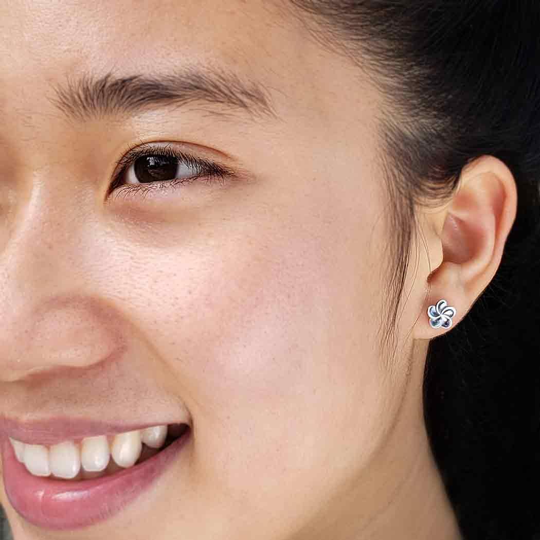 Sterling Silver Plumeria Post Earrings 8x8mm