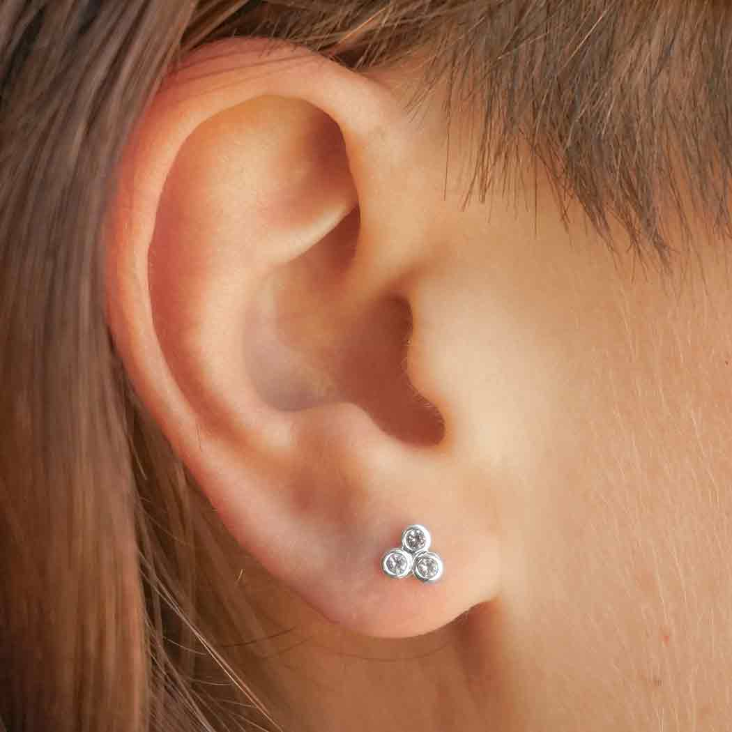 Sterling Silver Three Nano Gem Cluster Post Earrings 5x5mm