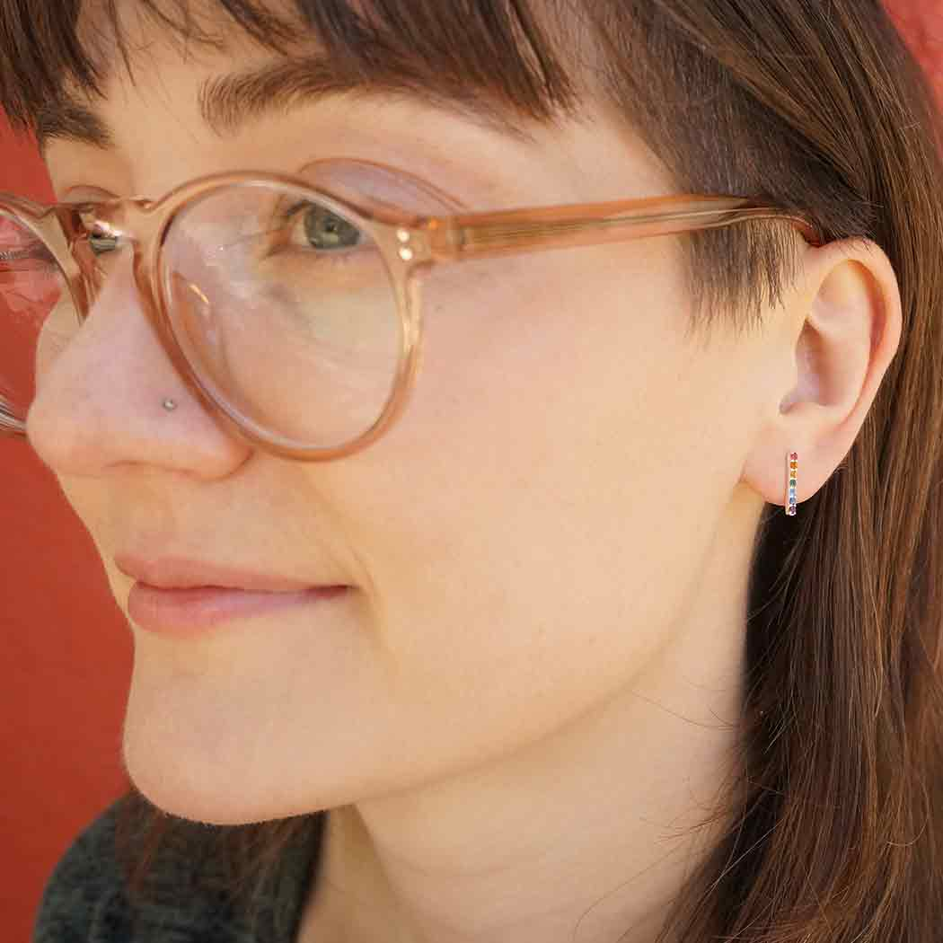 Sterling Silver Rainbow Bar Post Earrings 13x2mm