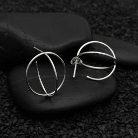 Sterling Silver 3D Orb Post Earrings 21x21mm
