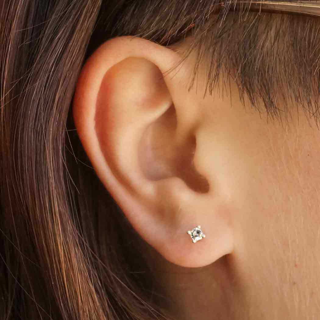 Sterling Silver Solitaire Post Earring with Nano Gem 3x3mm