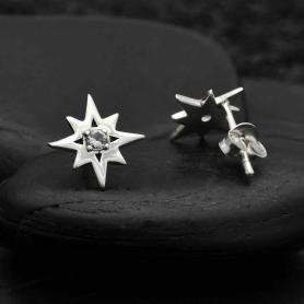 Sterling Silver Star Post Earrings with Nanogem Center 11x11