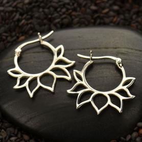 Sterling Silver Hoop Earrings - Lotus Petal Design 22x21mm