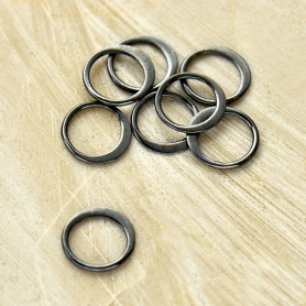 Sterling Silver Black Finish Half Hammered Circle Link 9mm
