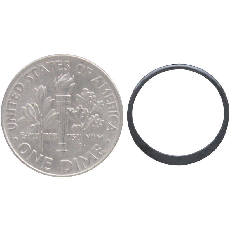 Sterling Silver Black Finish Half Hammered Circle Link 15mm