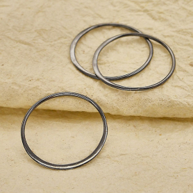 Sterling Silver Black Finish Half Hammered Circle Link 25mm