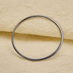 Sterling Silver Black Finish Half Hammered Circle Link 36mm