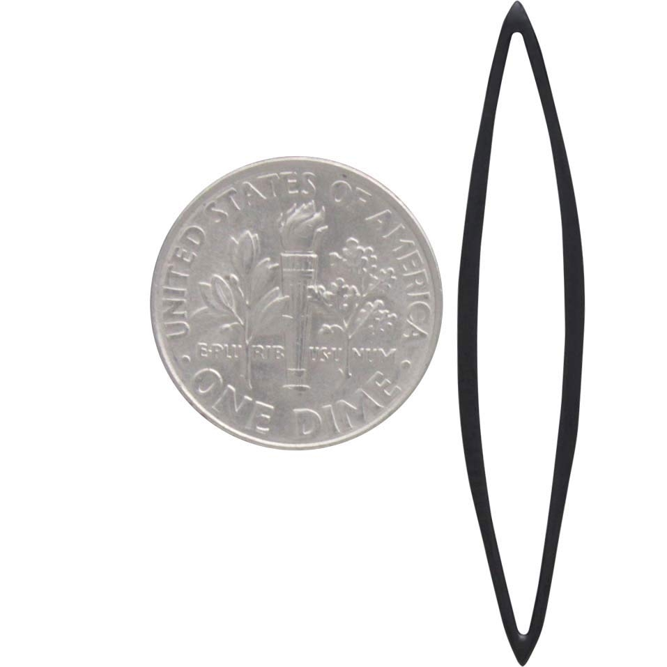 Sterling Silver Black Finish Skinny Marquis Link 40x9mm