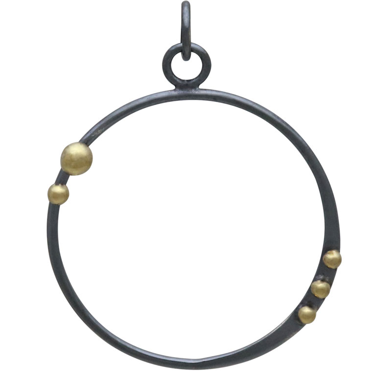 Silver Black Finish Circle Charm with Bronze Dots 34x26mm