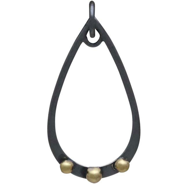 Black Finish Teardrop Charm with Bronze Granulation 28x14mm