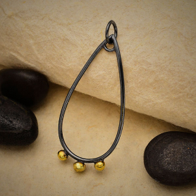 Black Finish Teardrop Charm with Bronze Dot Drops 36x15mm