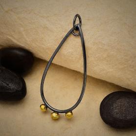 Black Finish Teardrop Charm with Bronze Dot Drops 36x15mm