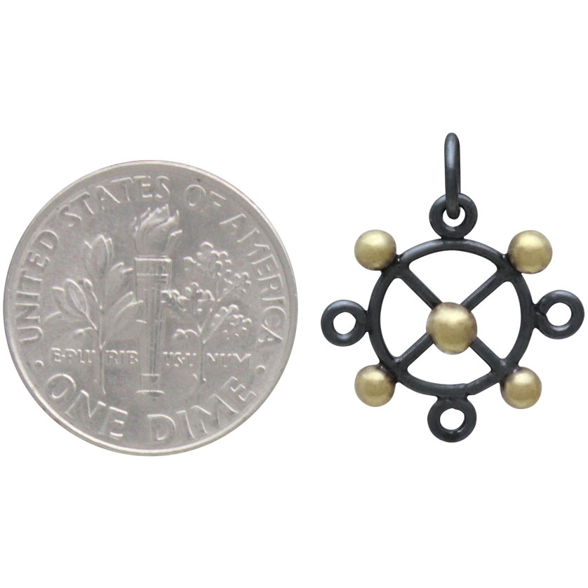 Black Finish Circle Charm with X and Bronze Dots 19x15mm