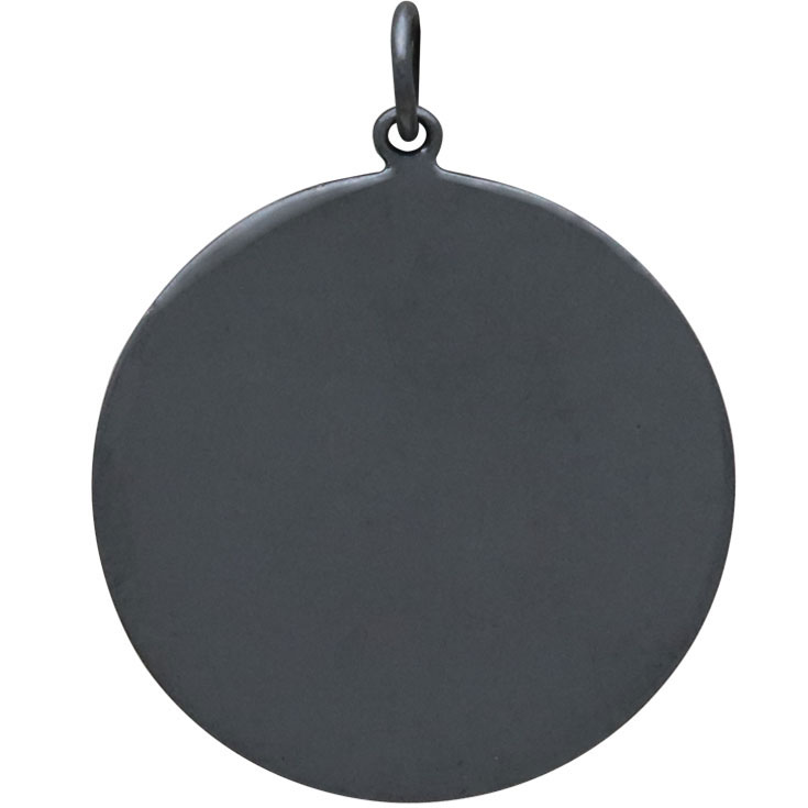 Black Finish Disk Pendant with Bronze Granulation 31x25mm
