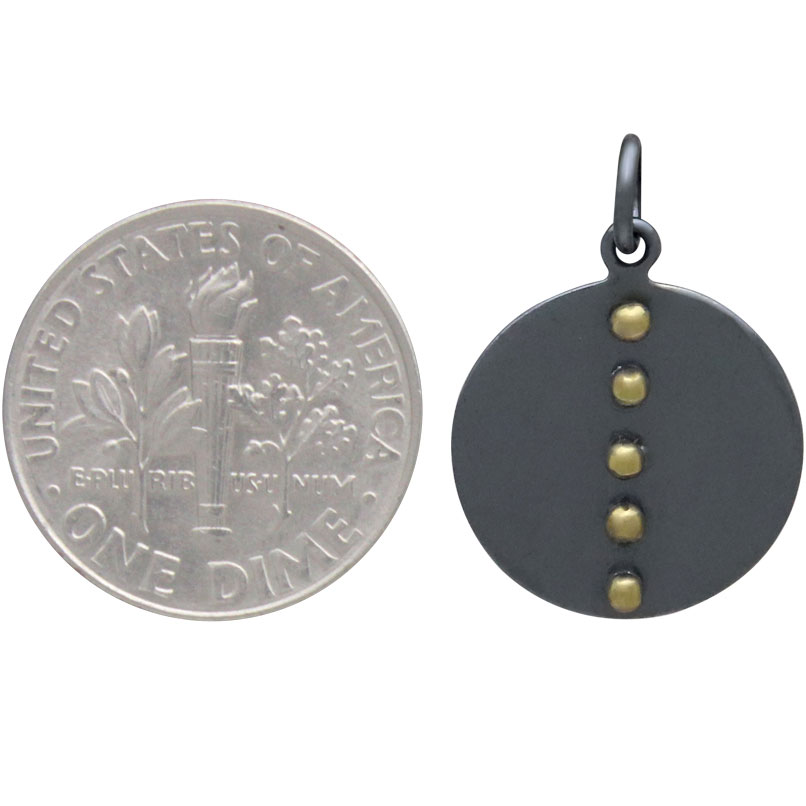 Black Finish Disk Charm with Bronze Granualtion 21x15mm