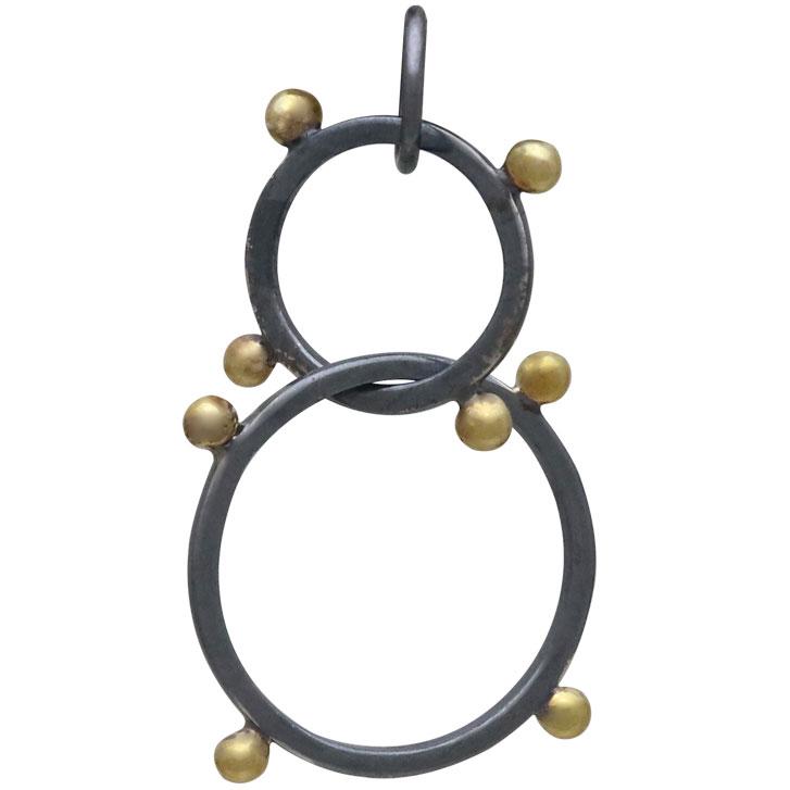 Black Finish Circles Link with Bronze Granulation 30x19mm