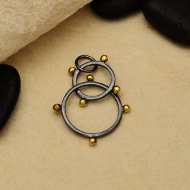 Black Finish Circles Link with Bronze Granulation 30x19mm