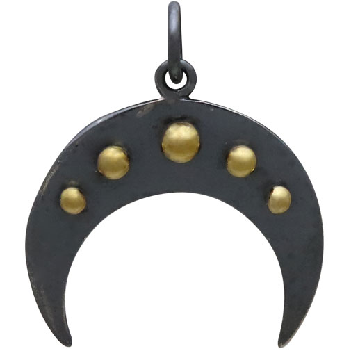 Black Finish Moon Charm with Bronze Granulation 22x18mm
