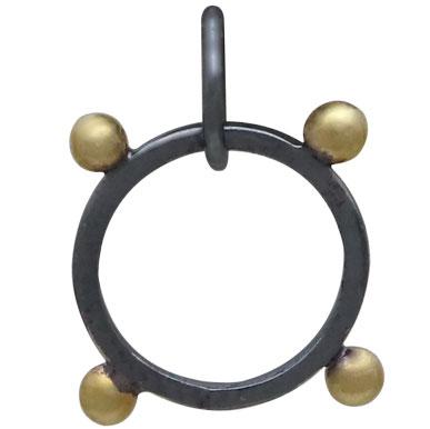 Black Finish Circle Charm with Bronze Granulation 18x16mm