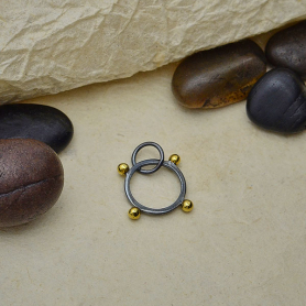 Black Finish Circle Charm with Bronze Granulation 18x16mm