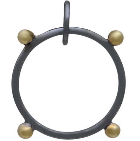 Black Finish Circle Pendant with Bronze Granulation 22x21mm
