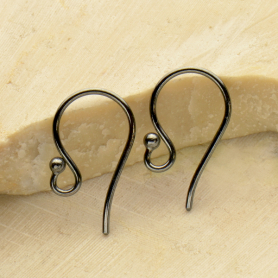 Sterling Silver Black Finish Simple Ear Hook w Ball 16x9mm
