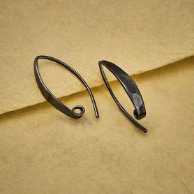 Black Finish Long Hammered Ear Wire with Hidden Hoop 27x4mm