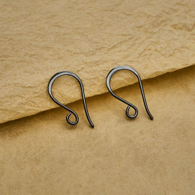 Sterling Silver Black Finish Simple Flat Ear Wire 20x10mm