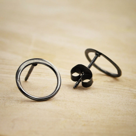 Silver Black Finish Open Circle Post Earring 10x10mm