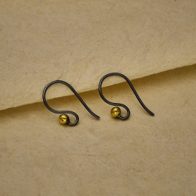 Black Finish Simple Ear Wire with Bronze Ball 18x10mm