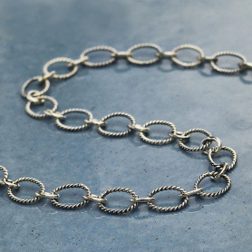 Sterling Silver Chain by the Foot - Scored Oval Links