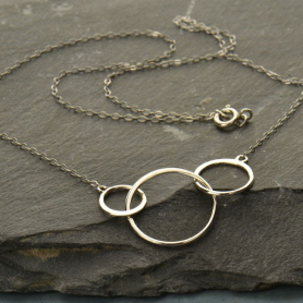 Sterling Silver 16 Inch Chain - WithThree Circles Pendant