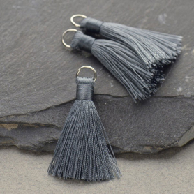 Faux Silk Tassel - Dark Gray Jewelry Tassel