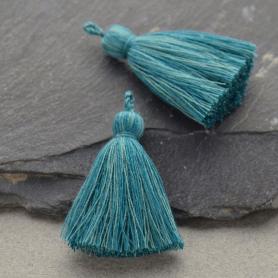 Cotton Tassel - Heather Teal Jewelry Tassel