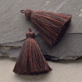 Cotton Tassel - Heathered Black and Brown Jewelry Tassel
