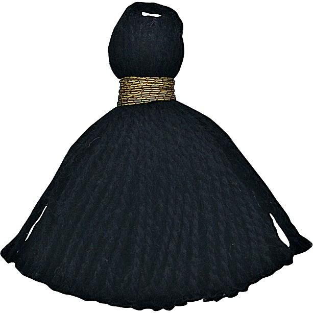 Cotton Mini Tassel - Jet Black Jewelry Tassel