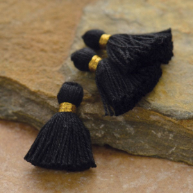 Cotton Mini Tassel - Jet Black Jewelry Tassel