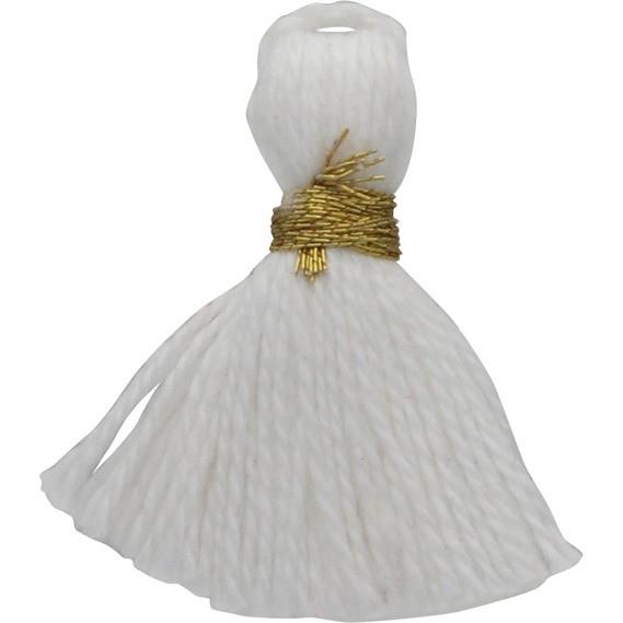 Cotton Mini Tassel - Snow White Jewelry Tassel