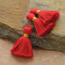 Cotton Mini Tassel - Fire Truck Red Jewelry Tassel
