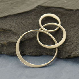 Matte Sterling Silver Three Circles of Life Link 19x36mm