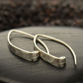 Matte Sterling Silver Long Hammered Ear Wire 27x4mm