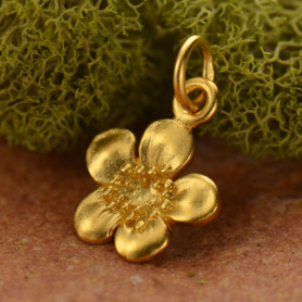 Satin 24K Gold Plated Plum Blossom Charm 16x10mm