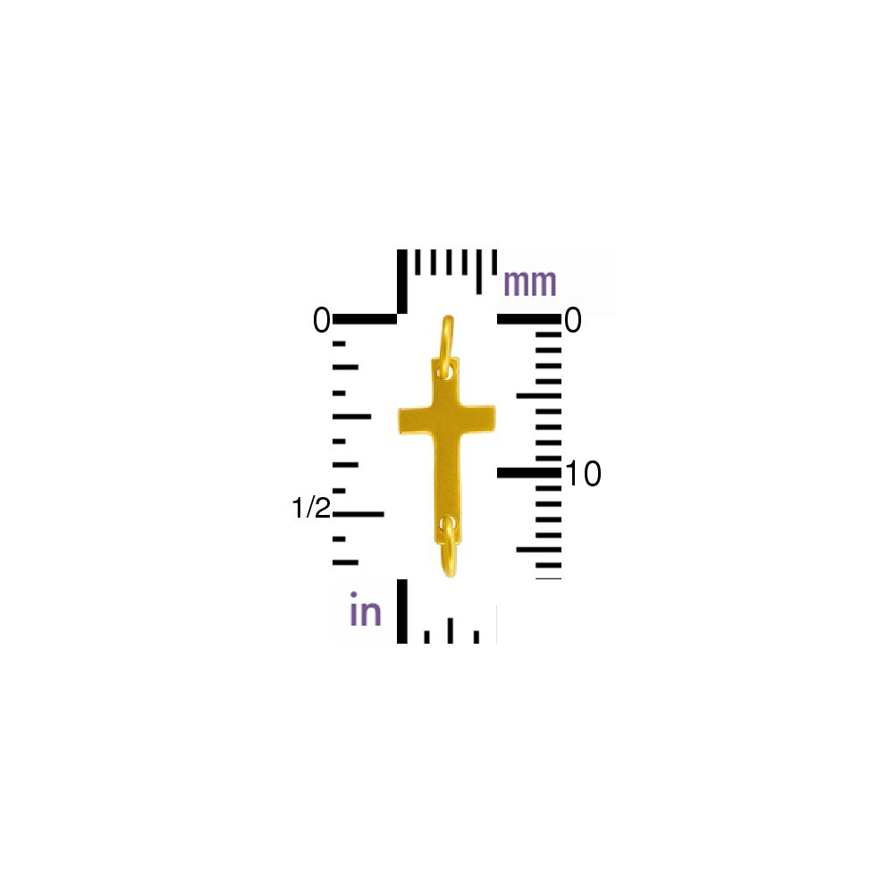 Satin 24K Gold Plated Cross Charm Link 6x17mm