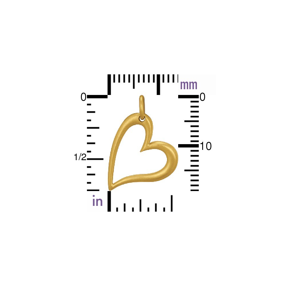 Gold Charm - Openwork Heart with 24K Gold Plate