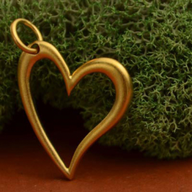 Gold Charm - Openwork Heart with 24K Gold Plate 21x14mm