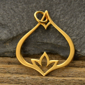 Gold Pendant - Teardrop with Poppy Detail in 24K Gold Plate