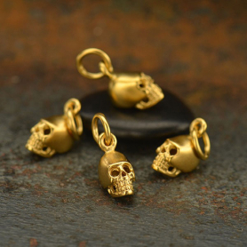 Gold Charm - Mini Skull with 24K Gold Plate 13x5mm