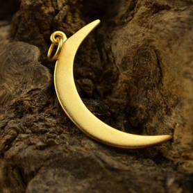 Gold Pendant - Crescent Moon with 24K Gold Plate 31x15mm
