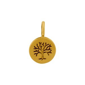 Satin 24K Gold Plated Etched Tree of Life Charm 13x8mm